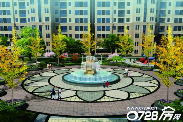 广场喷泉手绘平面图