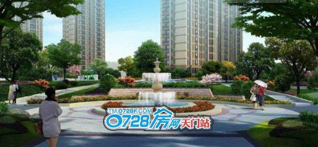 小区中央雕塑喷泉景观图