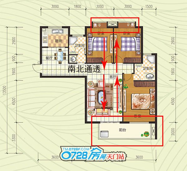 G户型户型 3室2厅2卫 建筑面积:117.06�O