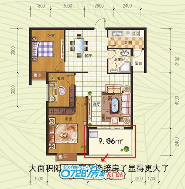 J户型户型 3室2厅1卫 建筑面积:102.39�O