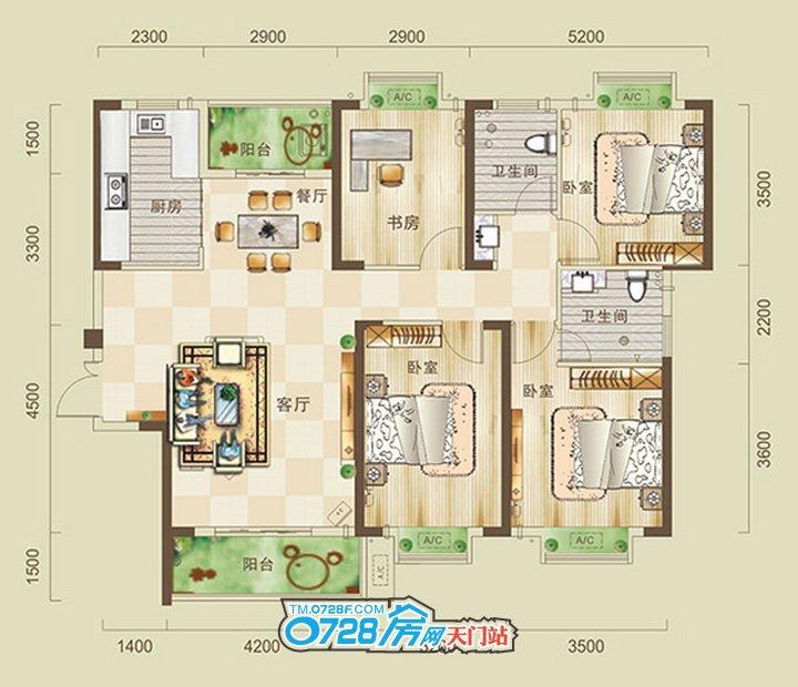 四室房子平面设计图