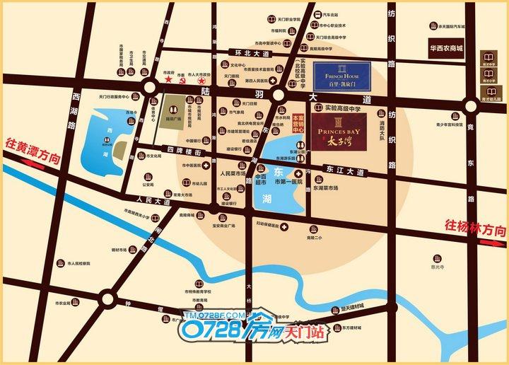 天门中央公馆位于天门城东东湖之滨广沟路中段,离老城区核心仅1.2公里左右,往南经东江大道步行至东湖路中百仓储商圈核心仅需10分钟左右。