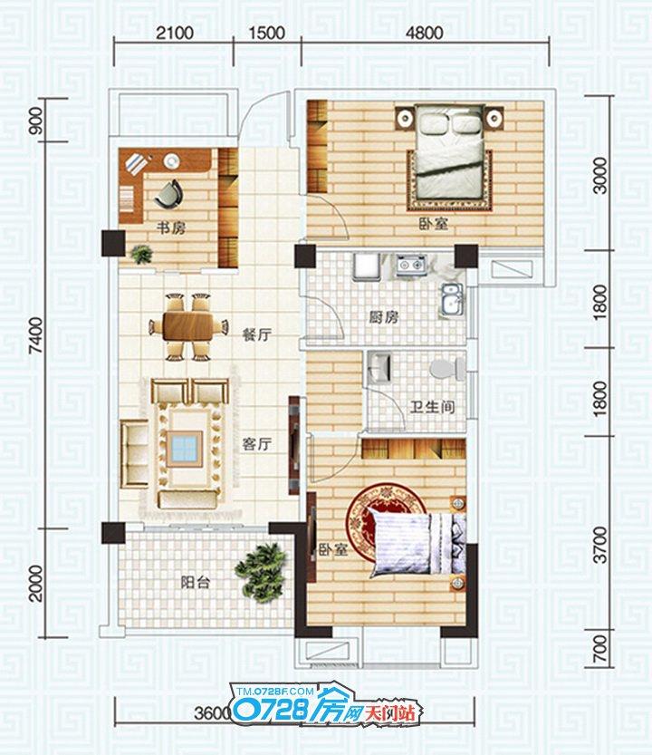 A3户型 3室2厅1卫 建筑面积:87�O