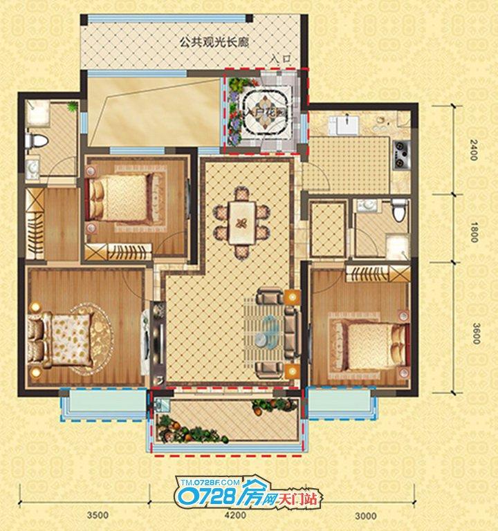 3#C2户型 3室2厅2卫 建筑面积:108.7�O