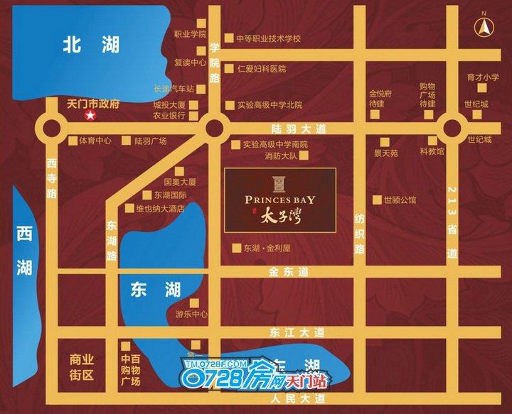 天门百里•太子湾由6栋31-32层住宅楼及临街商铺组成,地上总建筑面积76093.4平方米。