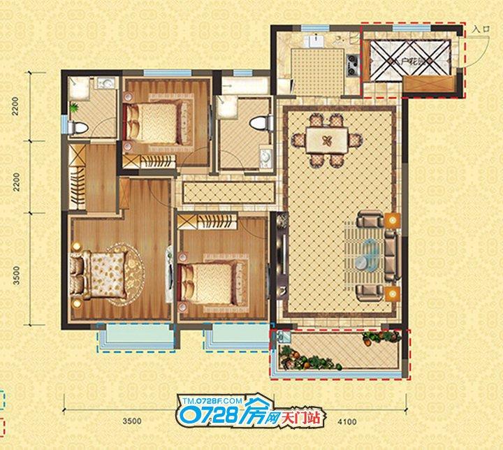 C1户型 3室2厅2卫 建筑面积:121.54�O