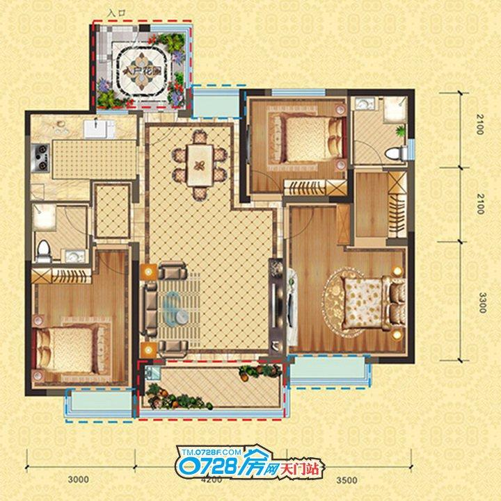 C3户型 3室2厅2卫 建筑面积:110.03�O