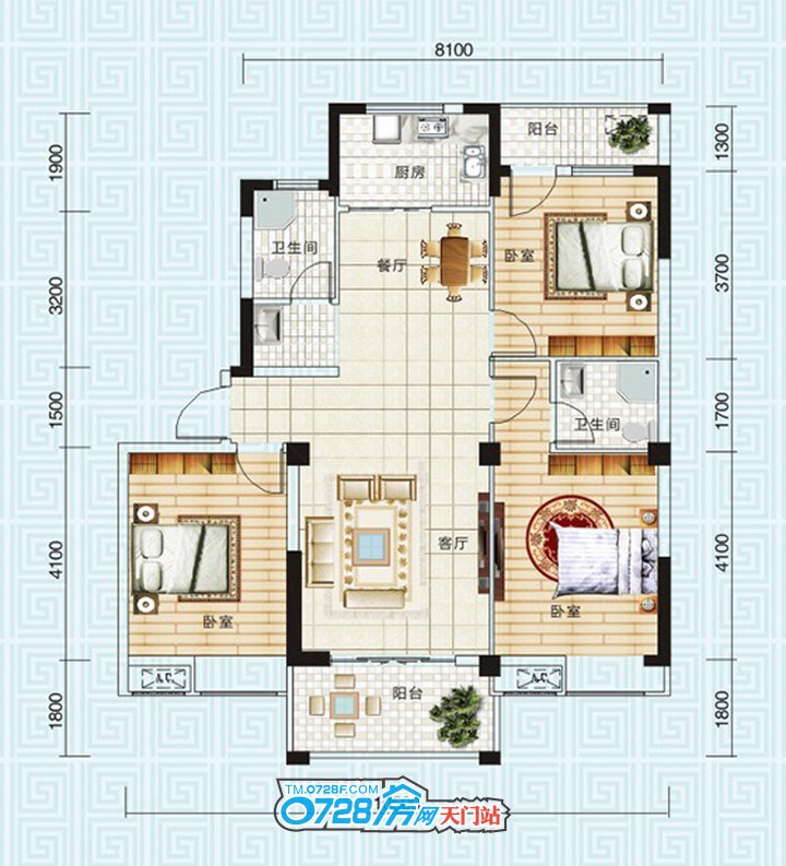 B6户型 3室2厅2卫 建筑面积:123.4�O