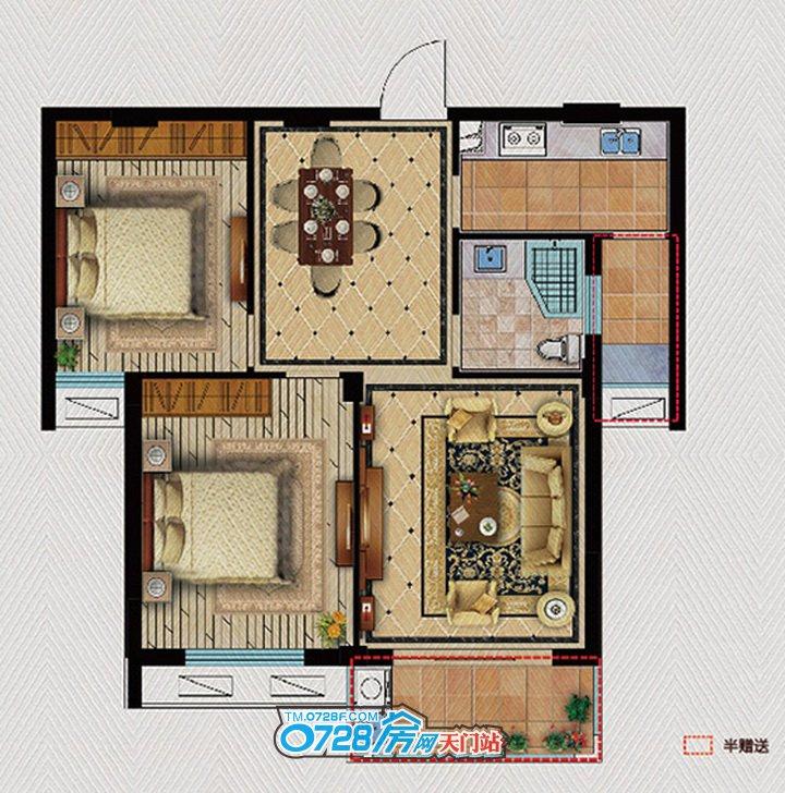 A2户型 2室2厅1卫 建筑面积:82.9�O