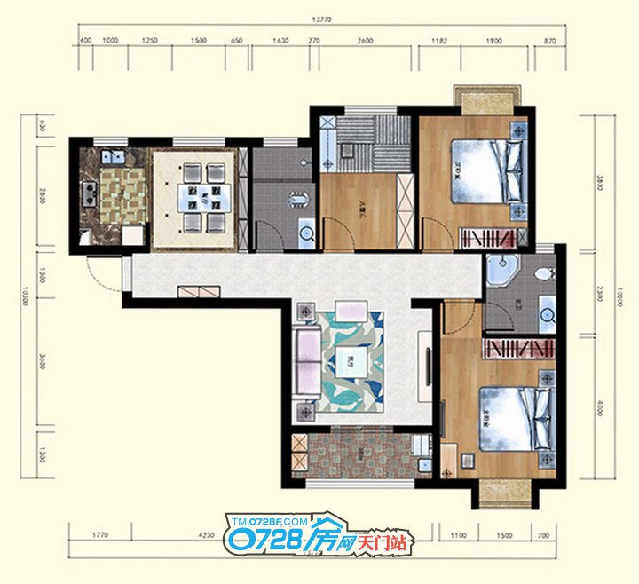 B户型 3室2厅2卫 建筑面积:121.82�O