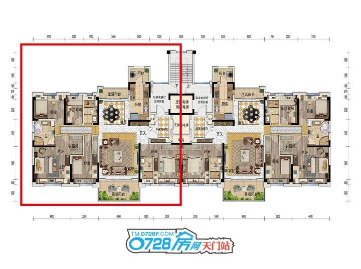 YJ190户型 5室2厅3卫 建筑面积:196�O