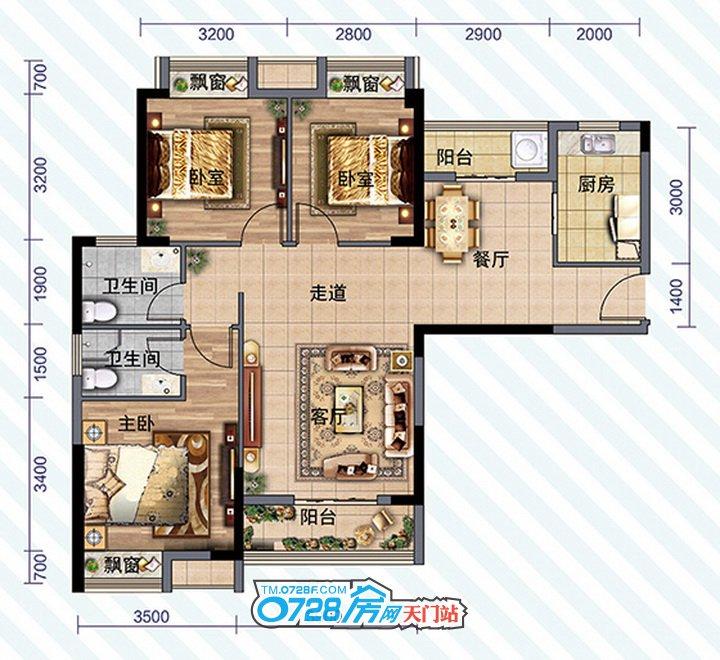 D1户型 3室2厅2卫 建筑面积:114.43�O
