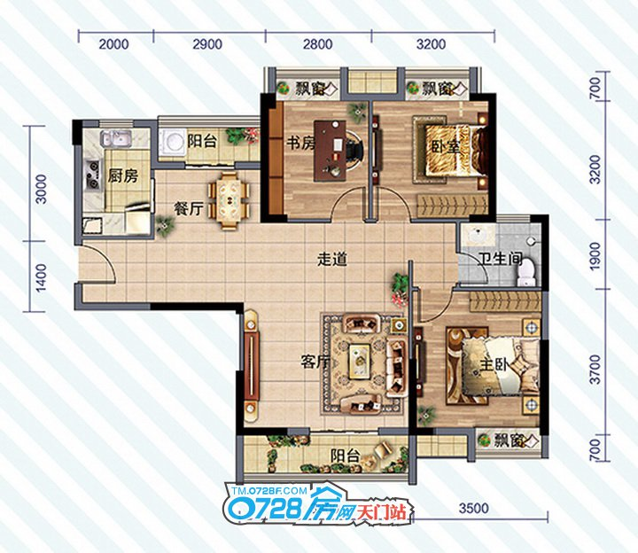 D2户型 3室2厅1卫 建筑面积:108.80�O
