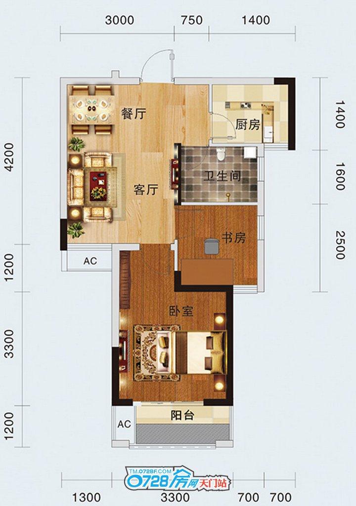 1-B户型 2室1厅1卫 建筑面积:59.21�O