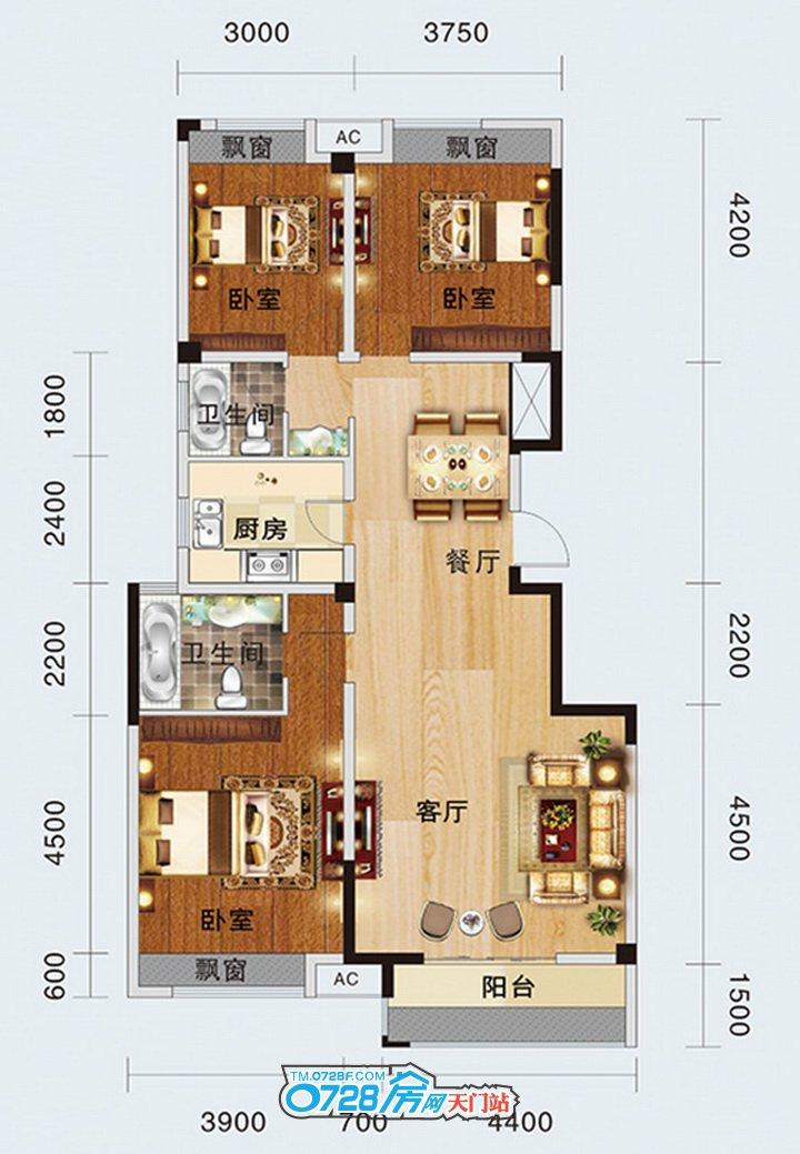2-A户型 3室2厅2卫 建筑面积:133.58�O