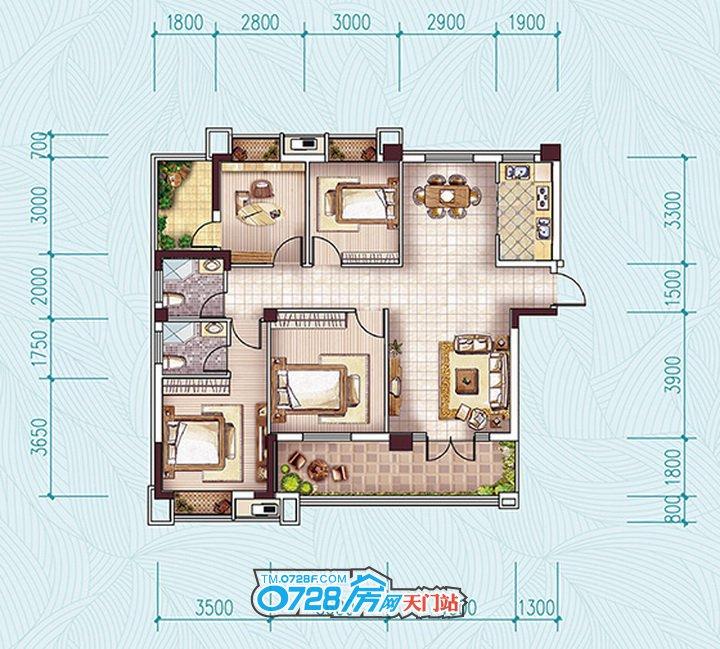 G1户型 4室2厅2卫 建筑面积:144.09�O