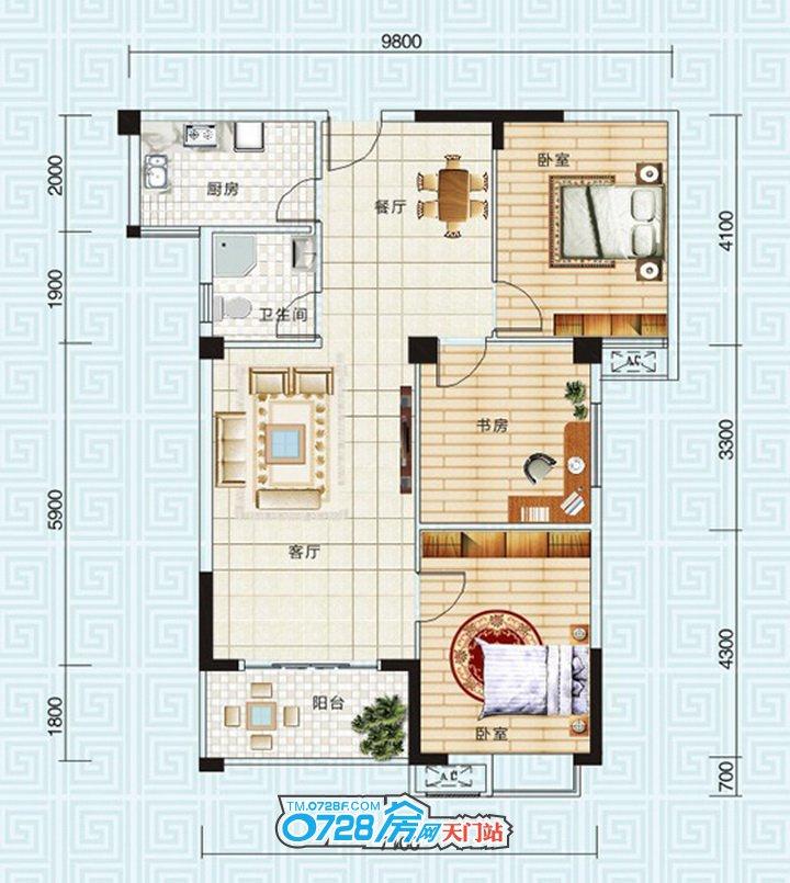北湖轩刚需家庭的首选,多款三室户型可供选择。