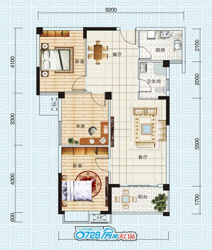 B2户型 3室2厅1卫 建筑面积:109.7�O