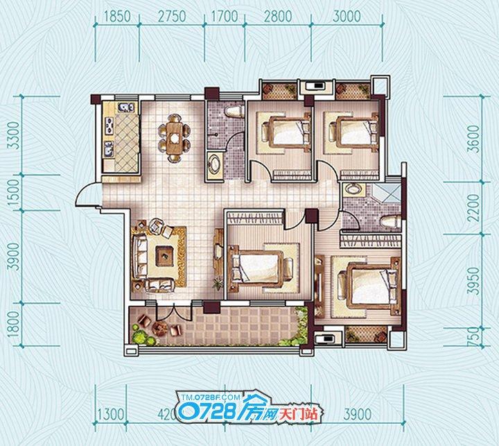 G2户型 4室2厅2卫 建筑面积:147.03�O