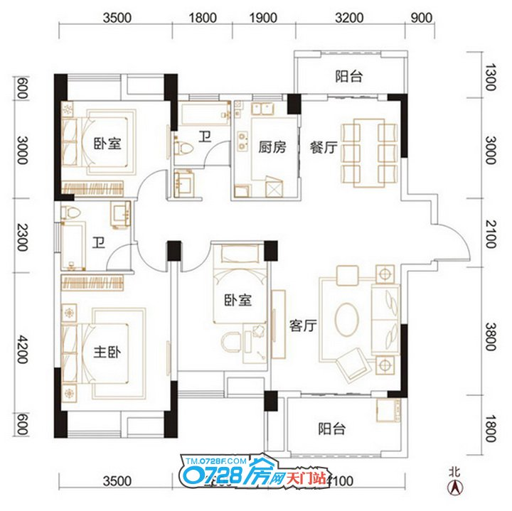 C1户型 3室2厅2卫 建筑面积:126.52�O