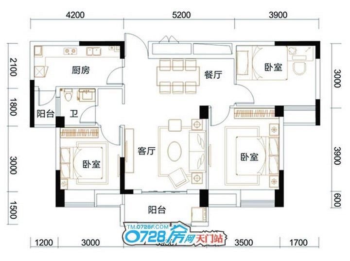 C2户型 3室2厅1卫 建筑面积:105.05�O