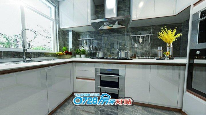 厨房采用L型的布局,优势在于角落比较好设计对于面积要求不高,一般都是把灶台和油烟机这些摆放在L较长的一面,把一小组地柜和冰箱放在短的那一边。使您在厨房有足够的活动空间,同时让布局看上去非常灵活。小两口在如此宽敞、明亮的厨房做饭,想必也是一种享受!