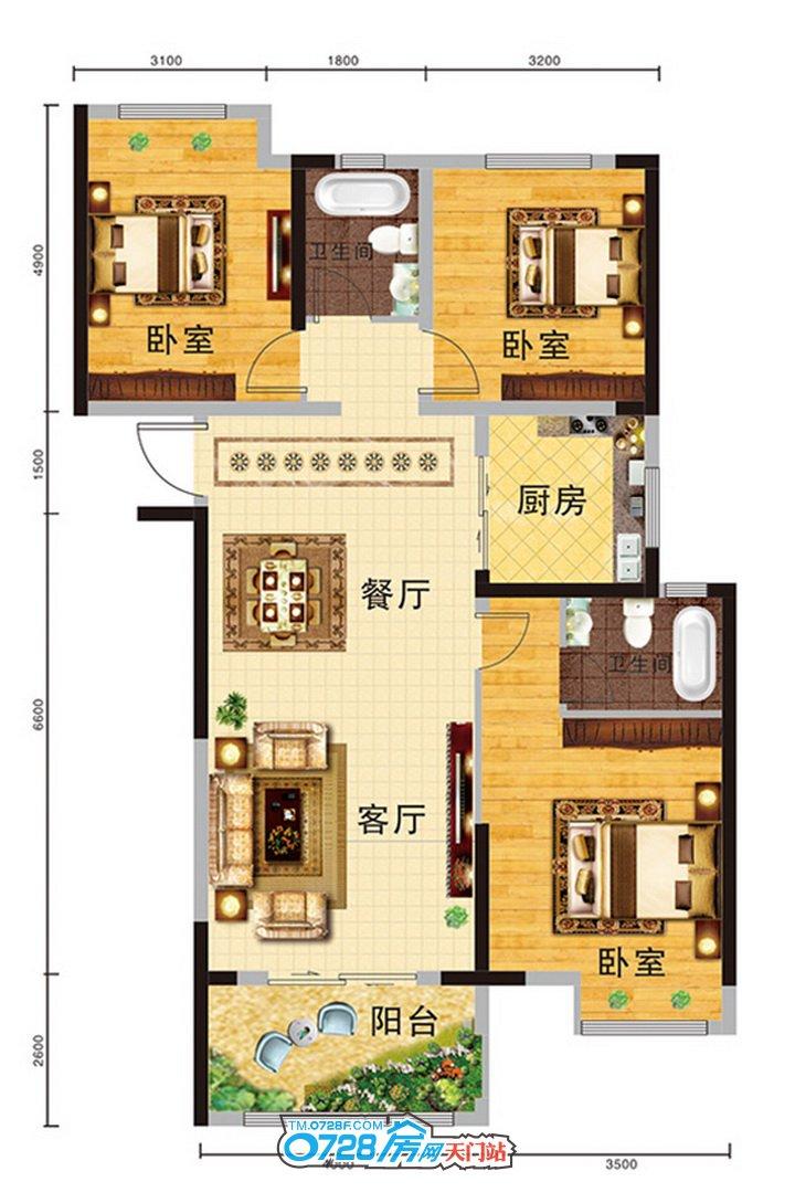 D户型 3室2厅2卫 建筑面积:111.31�O