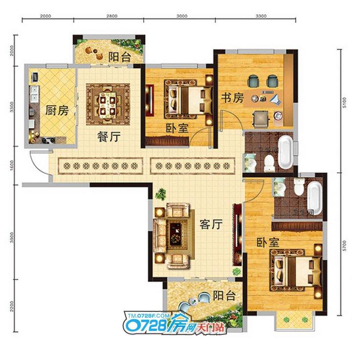7#8#B户型 3室2厅2卫 建筑面积:117.82�O
