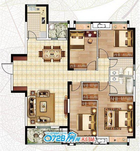 A1户型 4室2厅2卫建筑面积:152.19�O