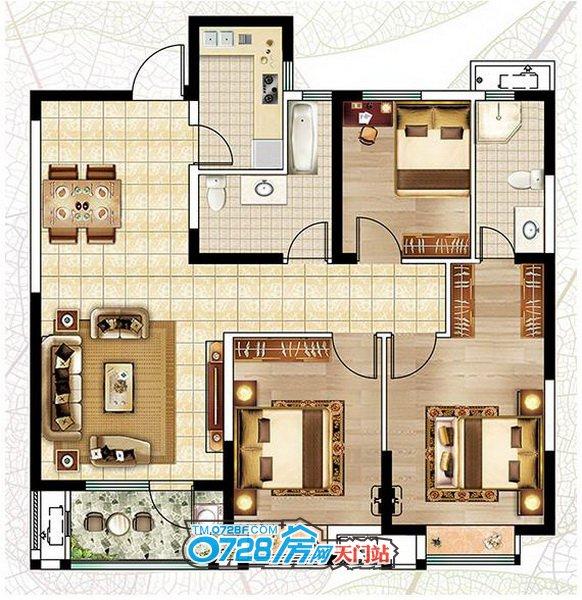 A2户型 3室2厅2卫建筑面积:115.59�O
