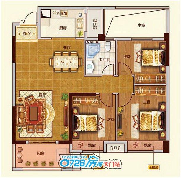 D户型 3室2厅1卫 总建筑面积约106.95�O