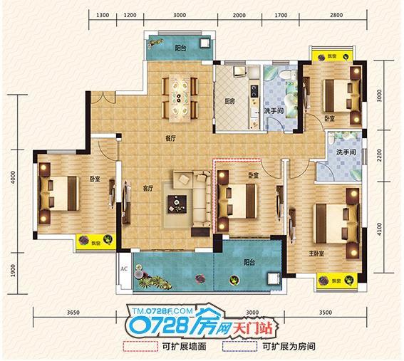 户型点评:板式阔景平层墅,三至五房随意切换,大空间尽在掌握
