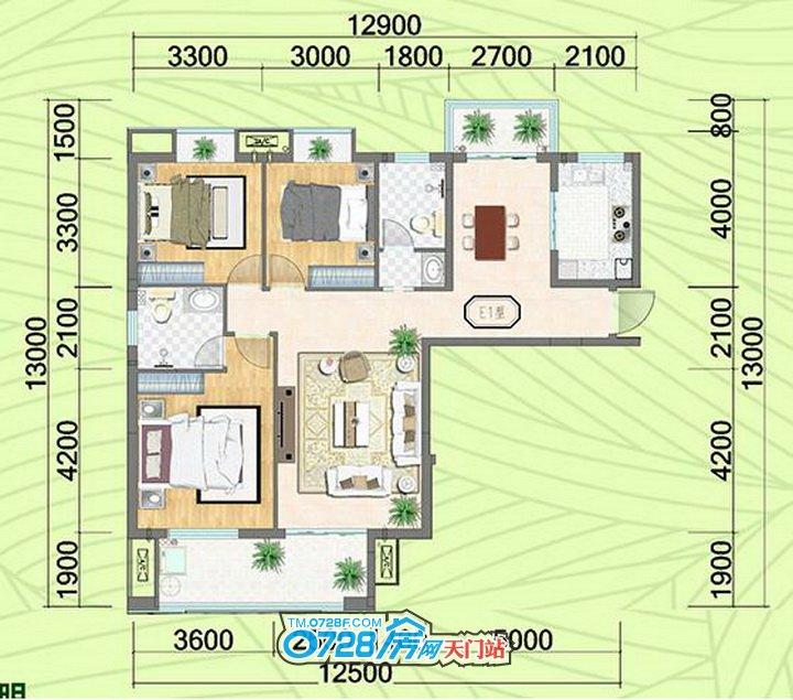E1户型 3室2厅2卫 建筑面积:119.06�O