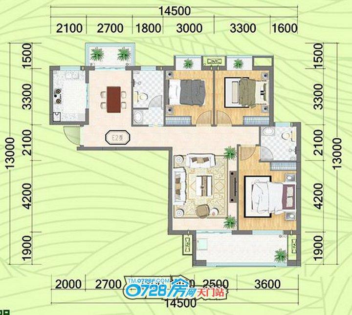 E2户型 3室2厅2卫 建筑面积:127.97�O