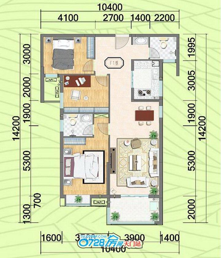 F户型 3室2厅2卫 建筑面积:123.64�O