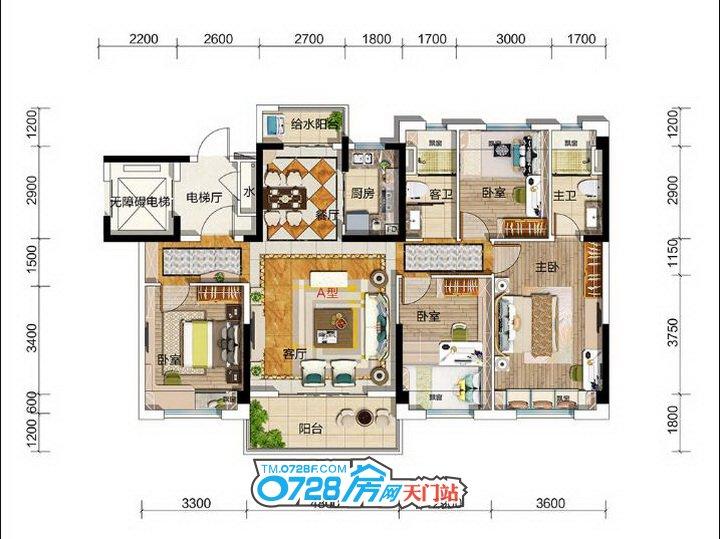 碧桂园玖玺YJ140户型 4室2厅2卫 建筑面积约:141�O