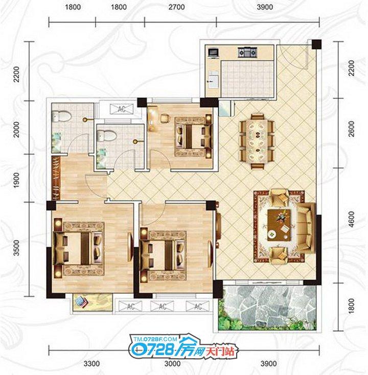 C2户型 3室2厅2卫 建筑面积:106.50�O