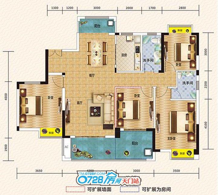 在水一方户型 4室2厅2卫 建筑面积:150.98�O