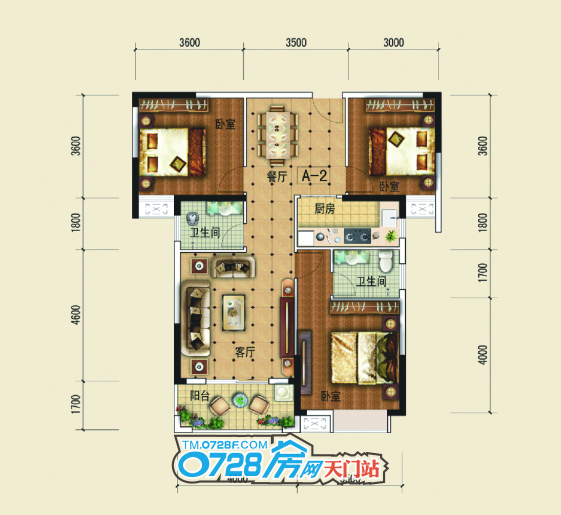 A2户型 3室2厅2卫 建筑面积:约114�O